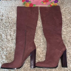 Jeffrey Campbell mid to high knee boot (maroon)